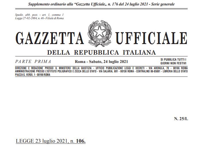 G.U. Conversione in legge Sostegni bis 23 luglio 2021